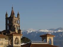 Catedral en Lausanne fotos de archivo