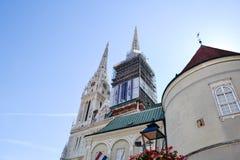 Catedral en Zagreb, Croatia foto de archivo libre de regalías