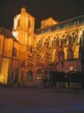 Catedral encendida por noche Imagen de archivo libre de regalías