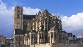 Catedral gótica, ciudad de Le Mans Foto de archivo