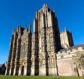 Catedral gótica inglesa Wells Somerset, Inglaterra Foto de archivo
