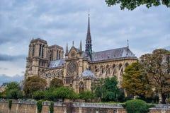 Catedral g?tico de nossa senhora de Paris no tempo nebuloso, Fran?a fotografia de stock royalty free