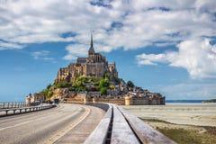 Catedral hermosa de Mont Saint Michel en la isla, Normandía, N Fotografía de archivo