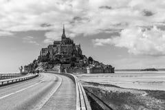 Catedral hermosa de Mont Saint Michel en la isla, Normandía, N Imagen de archivo