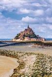 Catedral hermosa de Mont Saint Michel en la isla, Normandía, N Imagen de archivo libre de regalías