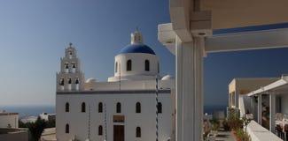 Catedral hermosa en Santorini Fotografía de archivo
