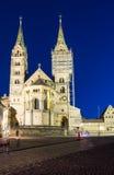 Catedral iluminada de Bamberga Imagem de Stock
