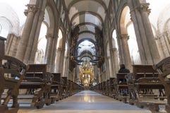 Catedral interior de la fachada de Santiago de Compostela The Romanesque Imagenes de archivo