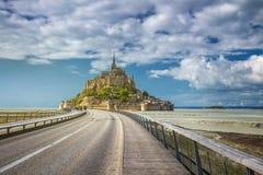 Catedral magnífica de Mont Saint Michel en la isla, Normandía, Fotos de archivo