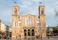 Catedral metropolitana de Τhe do aviso, em Atenas, Grécia imagem de stock royalty free