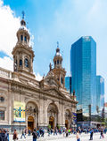 Catedral Metropolitana de Σαντιάγο Plaza de Armas, Χιλή Στοκ Εικόνες