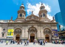 Catedral Metropolitana de Σαντιάγο Plaza de Armas, Χιλή Στοκ Φωτογραφίες