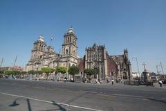 Catedral metropolitana de la ciudad de México en el cuadrado de Zocalo imágenes de archivo libres de regalías
