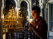 Catedral metropolitana do aviso, Mitropoli Quadrado de Metropoleos Atenas, Grécia Fotos de Stock Royalty Free