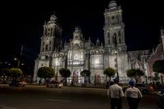 Catedral metropolitana en la noche, Ciudad de México, México de Ciudad de México foto de archivo