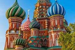 Catedral na manhã, Moscou do ` s da manjericão do St, Rússia fotos de stock