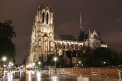 A catedral na noite, Paris de Notre Dame foto de stock royalty free