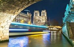 A catedral na noite, Paris de Notre Dame, França Imagem de Stock