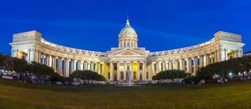 Catedral na noite, St Petersburg de Kazan, Rússia fotos de stock