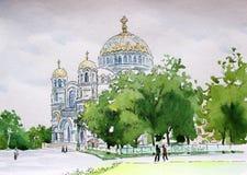 Catedral naval de Nikolsky de la acuarela de Kronstadt