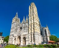 Catedral Notre Dame de Ruán en Francia foto de archivo