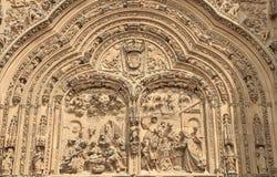 Catedral nova do detalhe da fachada de Salamanca, Espanha Fotografia de Stock Royalty Free
