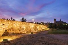 Catedral Nueva de Salamanca and Roman Bridge. Salamanca, Castile and Leon, Spain Royalty Free Stock Images