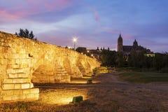 Catedral Nueva de Salamanca and Roman Bridge. Salamanca, Castile and Leon, Spain Stock Photography