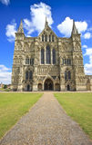 Catedral ocidental de Salisbúria da fachada, Inglaterra, Reino Unido foto de stock