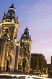 Catedral op plaza DE armas burgemeester lima Peru royalty-vrije stock afbeelding