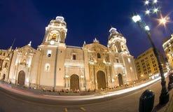 Catedral op plaza DE armas pleinburgemeester lima Peru royalty-vrije stock fotografie