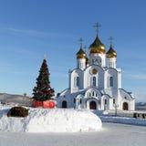 Catedral ortodoxa de la trinidad santa de la ciudad de Petravlosk y del árbol de navidad delante del edificio Imagen de archivo
