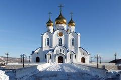 Catedral ortodoxa de la trinidad santa de Petravlosk, diócesis de la península de Kamchatka de la iglesia ortodoxa rusa Foto de archivo