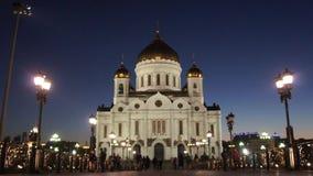 Catedral ortodoxo grande em Moscou no por do sol 2 filme