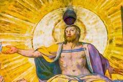 catedral pasada Florencia del Duomo de la bóveda del fresco J de Vasari del juicio del esus fotos de archivo libres de regalías