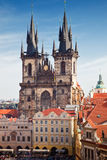 Catedral Praga de Tyn, república checa Fotos de Stock