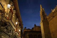 Catedral real de Granada na noite Fotos de Stock Royalty Free