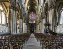 Catedral Reims Rose Windows Interior Imagens de Stock Royalty Free