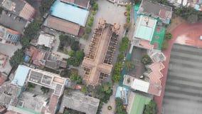 Catedral sagrada del corazón en la opinión superior de Guangzhou El abejón se alza almacen de metraje de vídeo