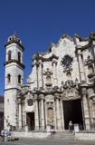 Catedral of San Cristobal on the Cathedral Plaza, famous religious and touristic landmark. Havana, Cuba.  royalty free stock photo