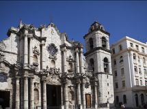 Catedral of San Cristobal on the Cathedral Plaza, famous religious and touristic landmark. Havana, Cuba.  royalty free stock image