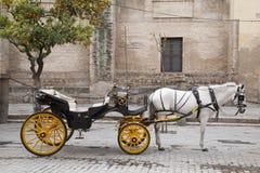Catedral, Sevilla - Sevilla con el caballo y el carro, España imagen de archivo