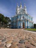 Catedral y cuadrado de Smolny Imágenes de archivo libres de regalías