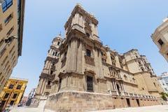 Catedral y día soleado de Málaga imagen de archivo libre de regalías