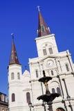 Catedral y fuente de New Orleans St. Louis Foto de archivo