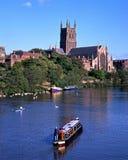 Catedral y río Severn de Worcester imagenes de archivo