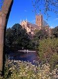 Catedral y río Severn de Worcester fotografía de archivo libre de regalías
