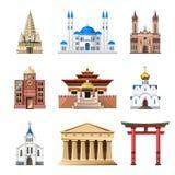 Catedrales, iglesias y mezquitas construyendo el sistema del vector Imagen de archivo libre de regalías