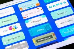 Categorías principales de la tienda del uso de Apple Imagen de archivo libre de regalías