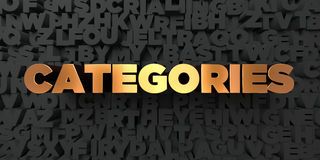 Categories - Gold text on black background - 3D rendered royalty free stock picture Royalty Free Stock Photography